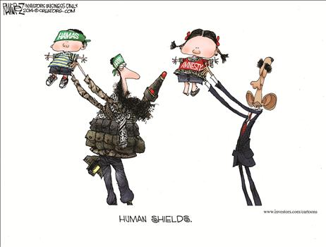 hamas humanshields cartoon